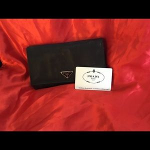 Prada Black Nylon Flap Wallet